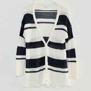 Joie Linen Stripe Button Down Cardigan Size L